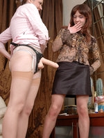 Frisky babe makes up a sissy before getting down to strap-on ass-pounding