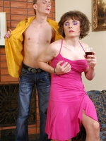 Sexy sissy in a flirty pink dress gets his ass packed after a glass of wine