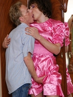 Nasty sissy in a lovely pink dress goes all the way after sensuous kisses